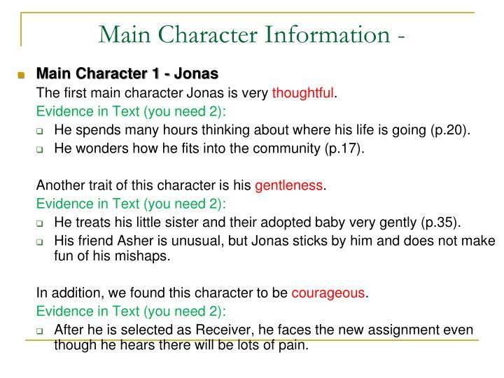 Main Character Information -