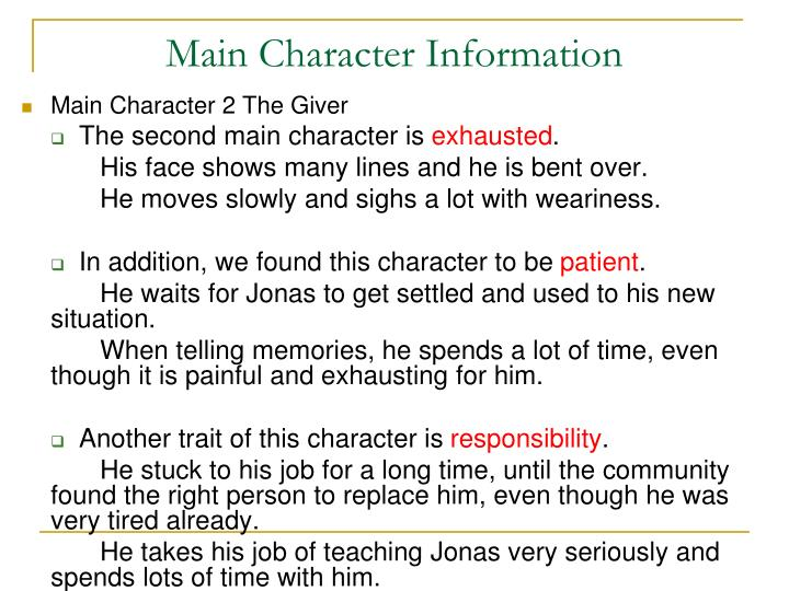 Main Character 2 The Giver