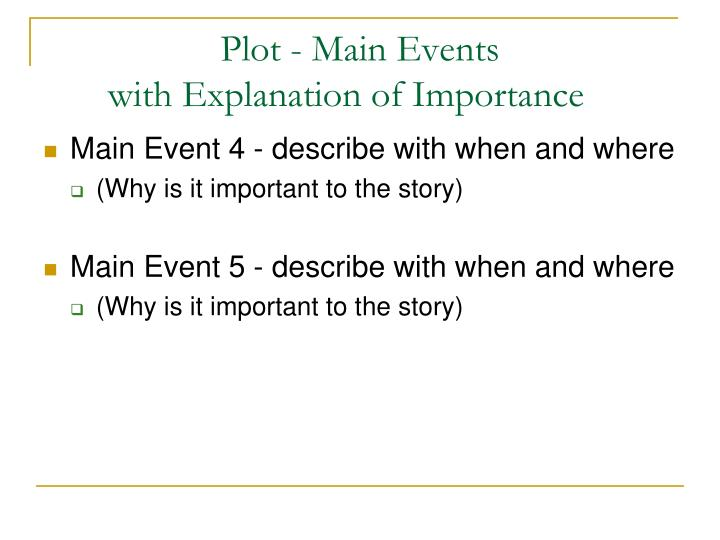 Plot - Main Events