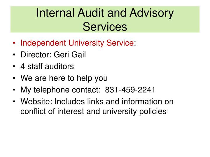 Internal audit and advisory services