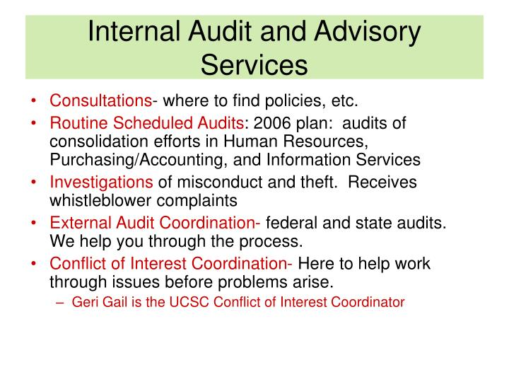 Internal audit and advisory services1