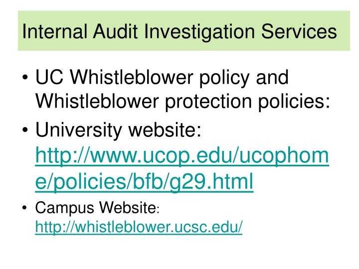 Internal Audit Investigation Services