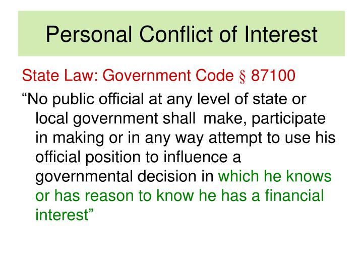 Personal Conflict of Interest