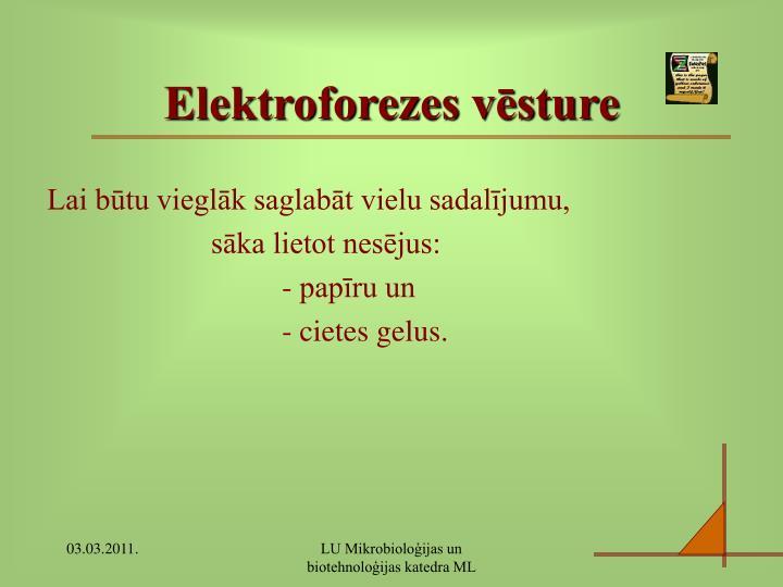 Elektroforezes vēsture