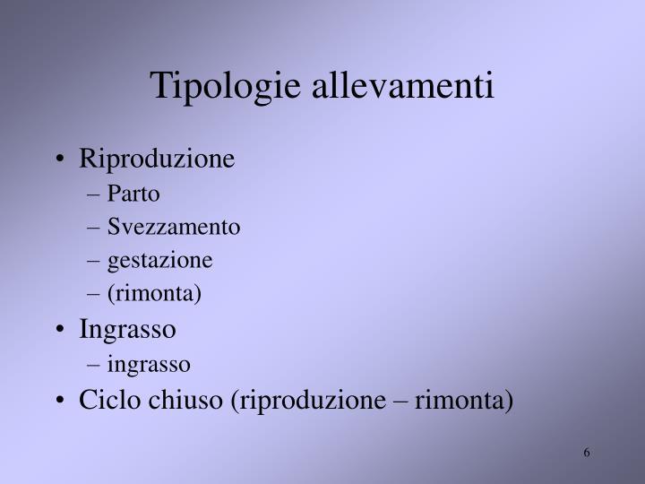 Tipologie allevamenti