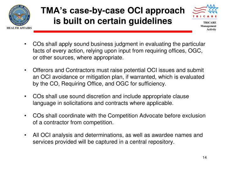 TMA's case-by-case OCI approach