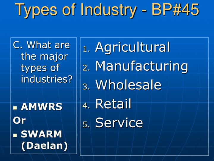 C. What are the major types of industries?