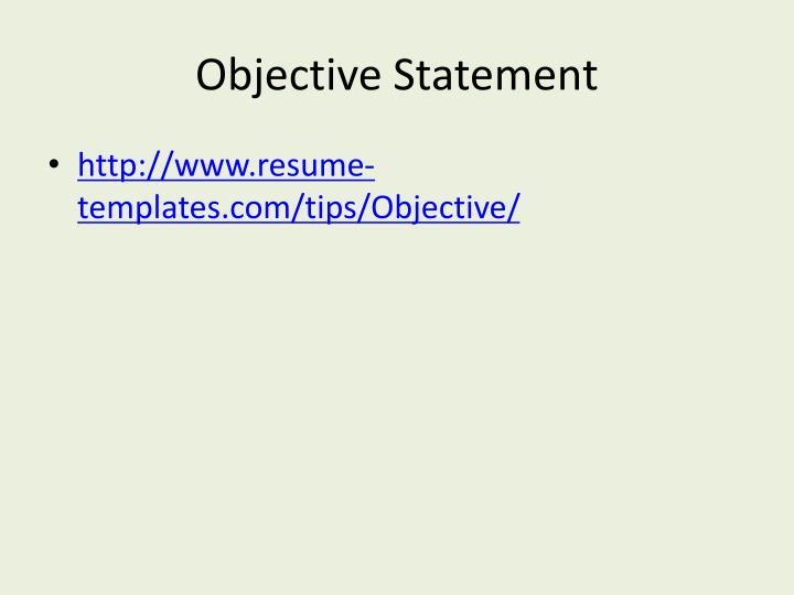 Objective Statement
