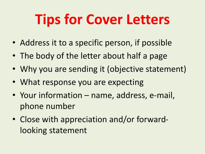 Tips for cover letters
