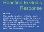 reaction to god s response