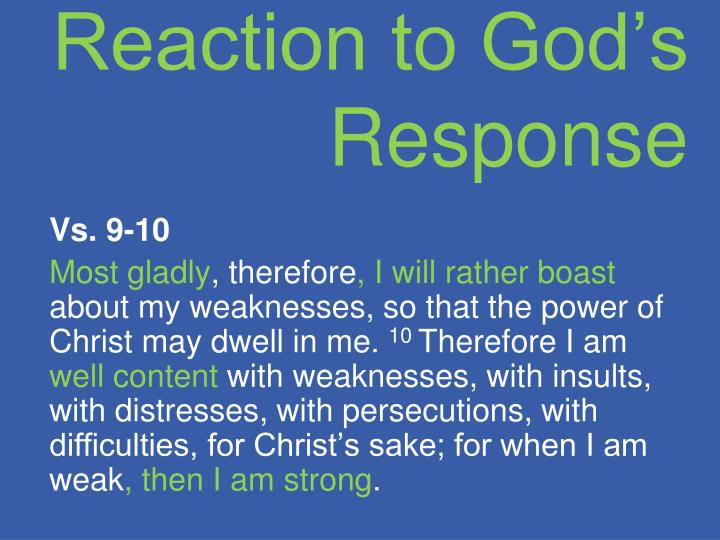 Reaction to God's Response
