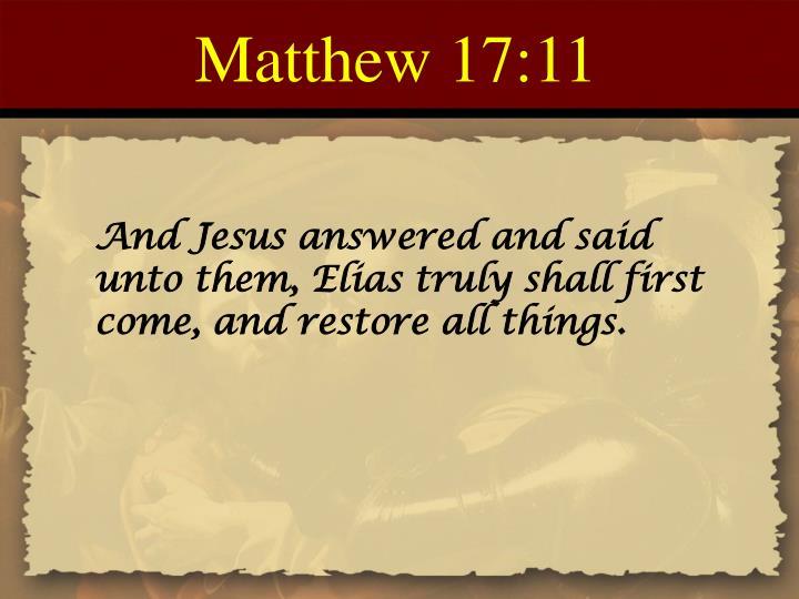 Matthew 17:11