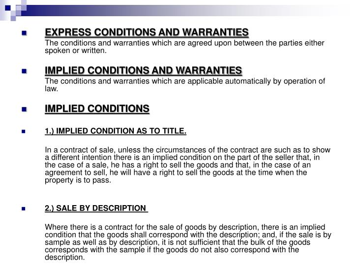 EXPRESS CONDITIONS AND WARRANTIES