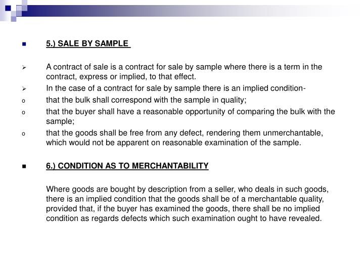5.) SALE BY SAMPLE