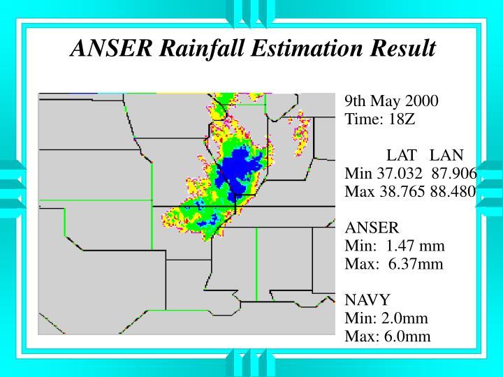 ANSER Rainfall Estimation Result