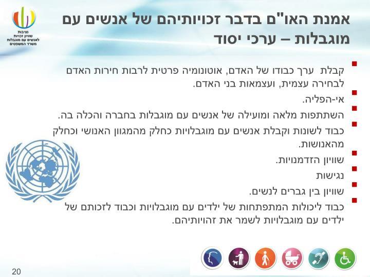 """אמנת האו""""ם בדבר זכויותיהם של אנשים עם מוגבלות – ערכי יסוד"""