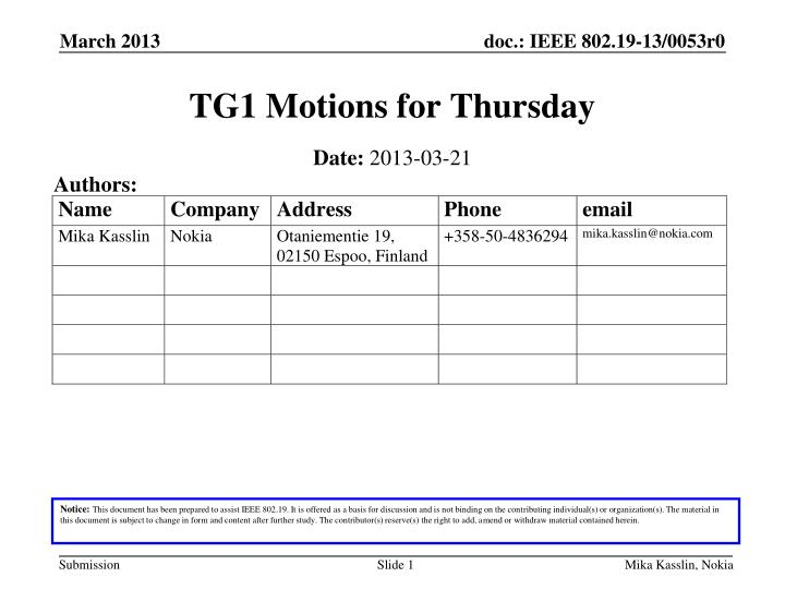 Tg1 motions for thursday