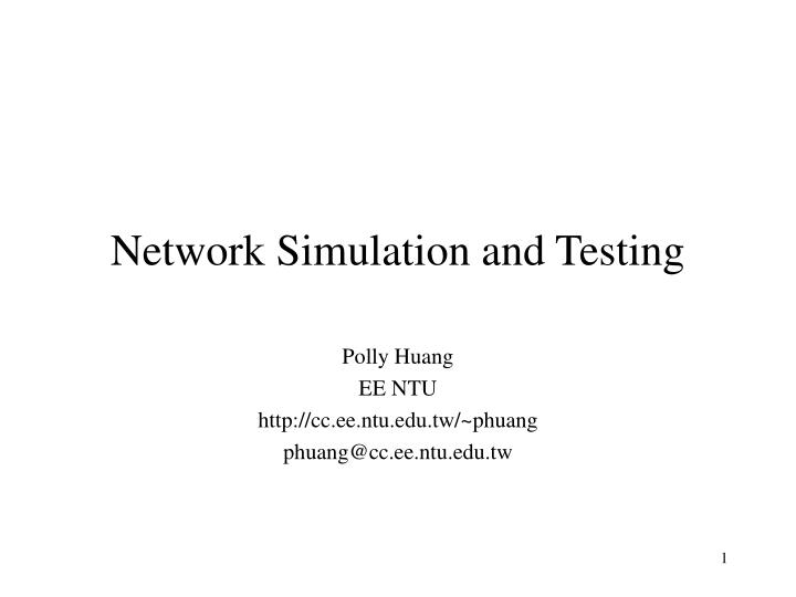 Network simulation and testing