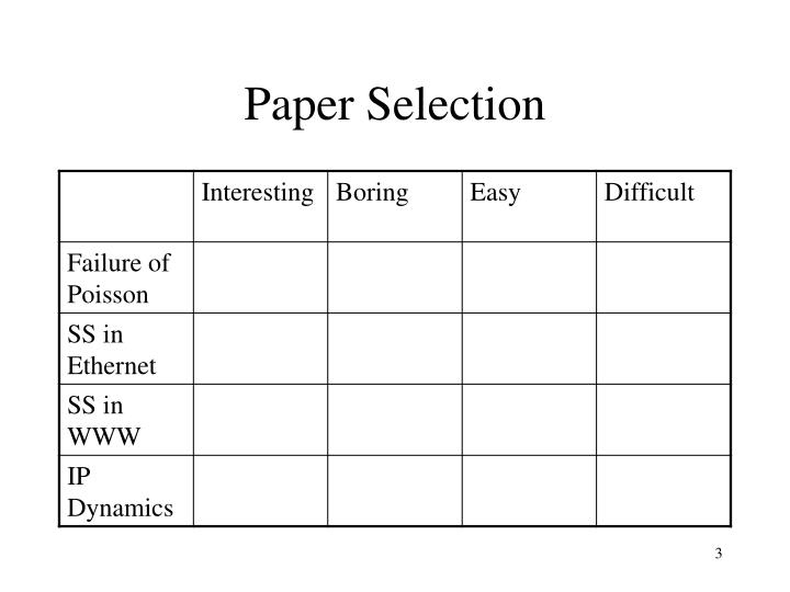 Paper selection