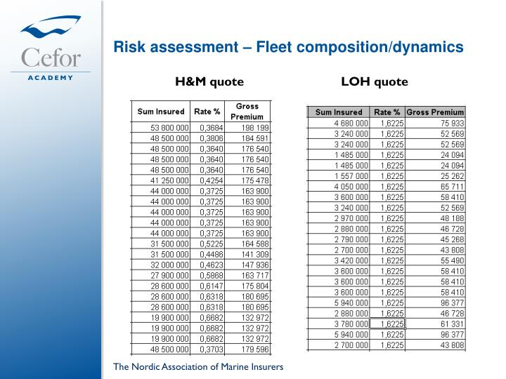 Risk assessment – Fleet composition/dynamics