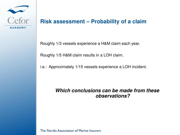 Risk assessment – Probability of a claim