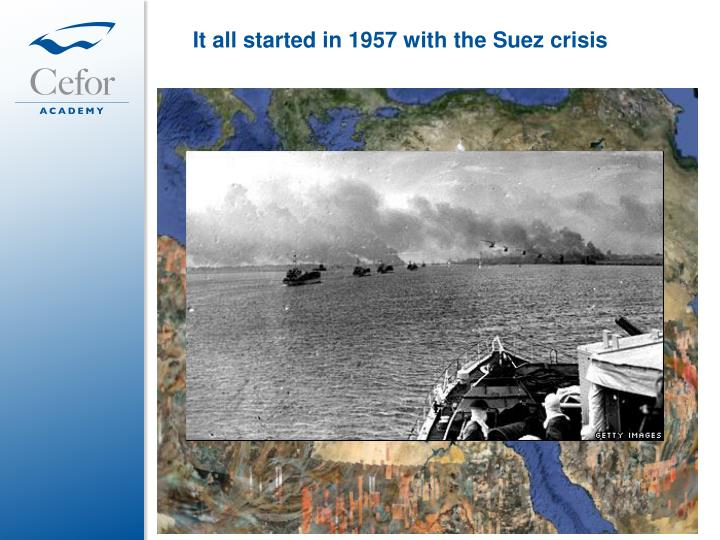 It all started in 1957 with the Suez crisis
