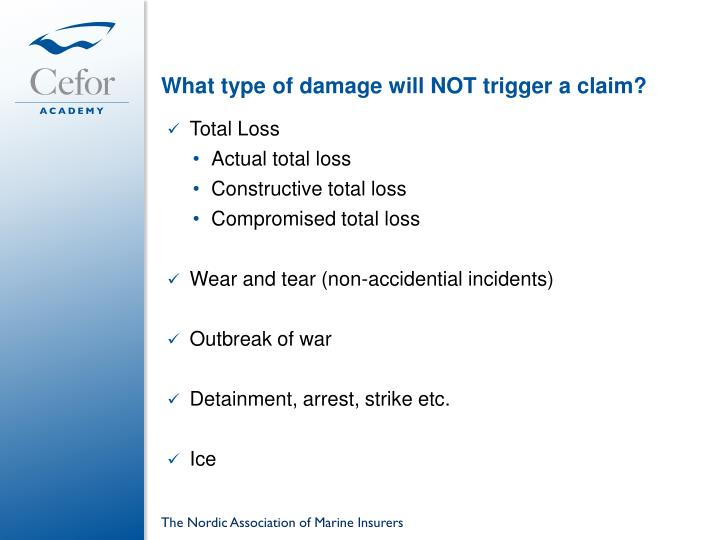 What type of damage will NOT trigger a claim?