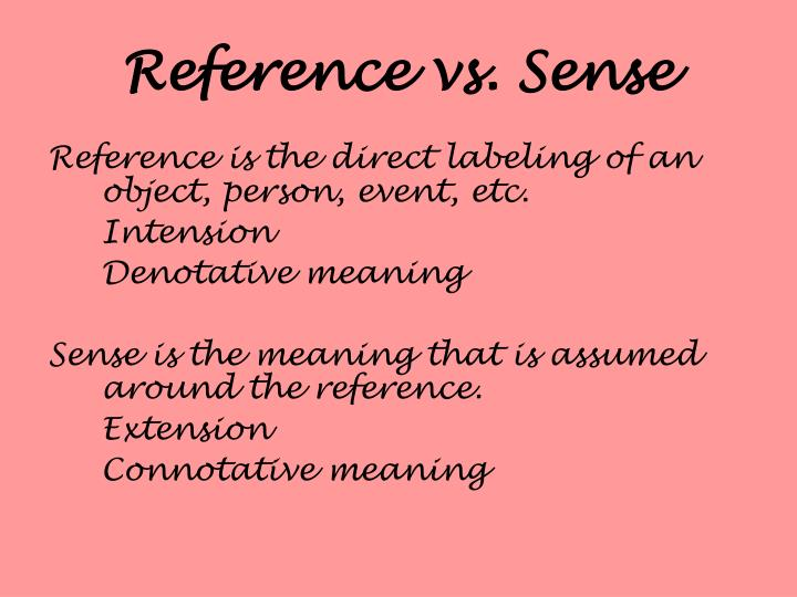 Reference vs. Sense