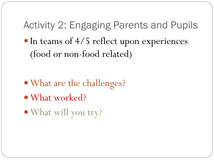 Activity 2: Engaging Parents and Pupils