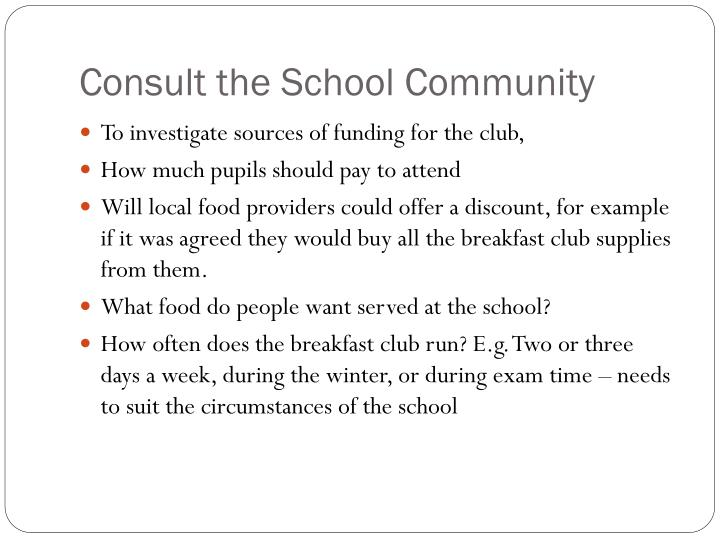 Consult the School Community