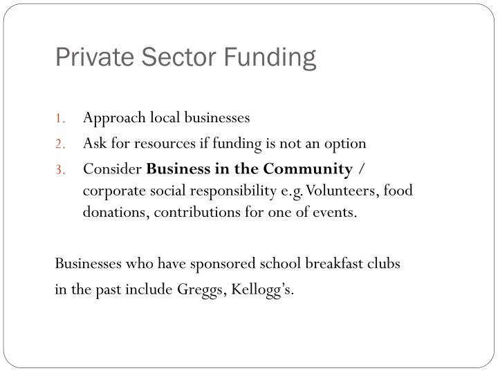 Private Sector Funding