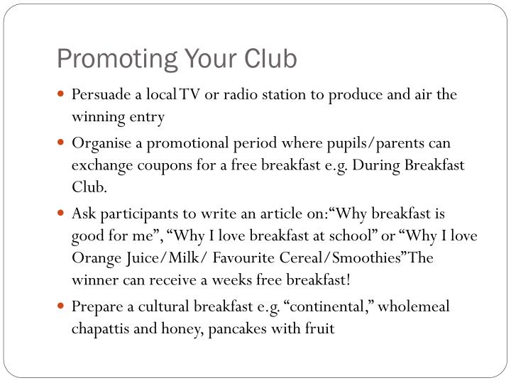 Promoting Your Club