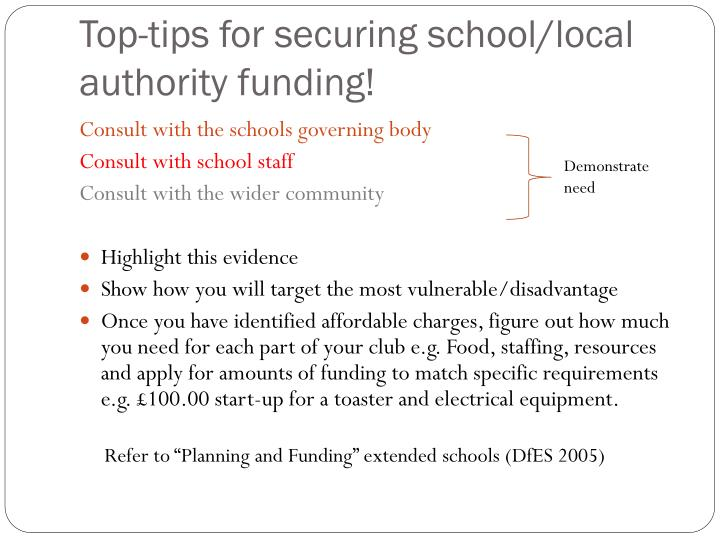 Top-tips for securing school/local authority funding!