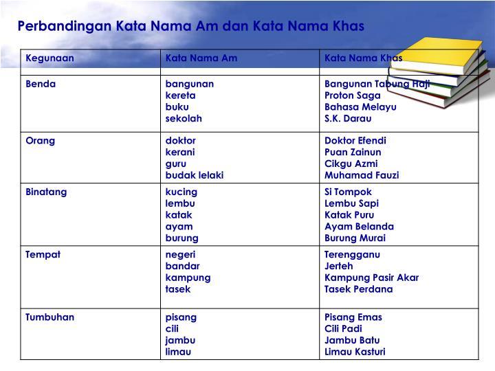 Perbandingan Kata Nama Am dan Kata Nama Khas