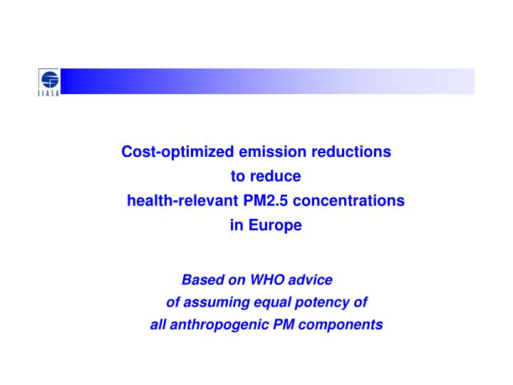 Cost-optimized emission reductions