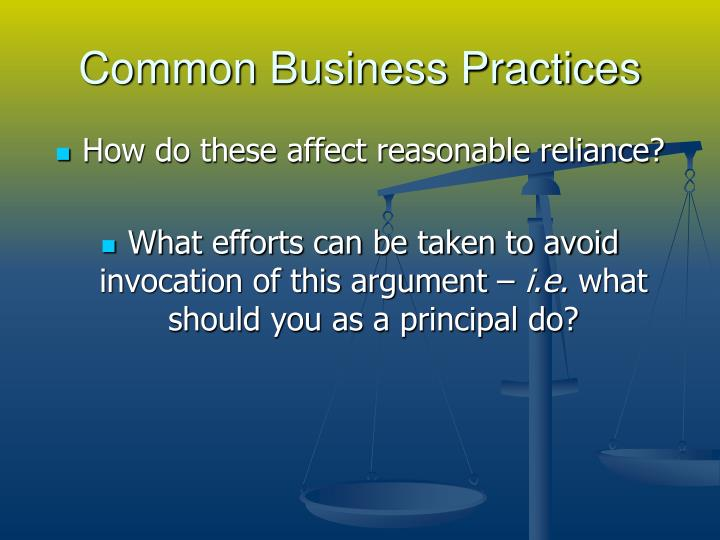 Common Business Practices