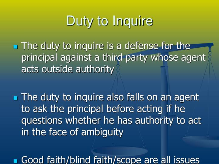 Duty to Inquire