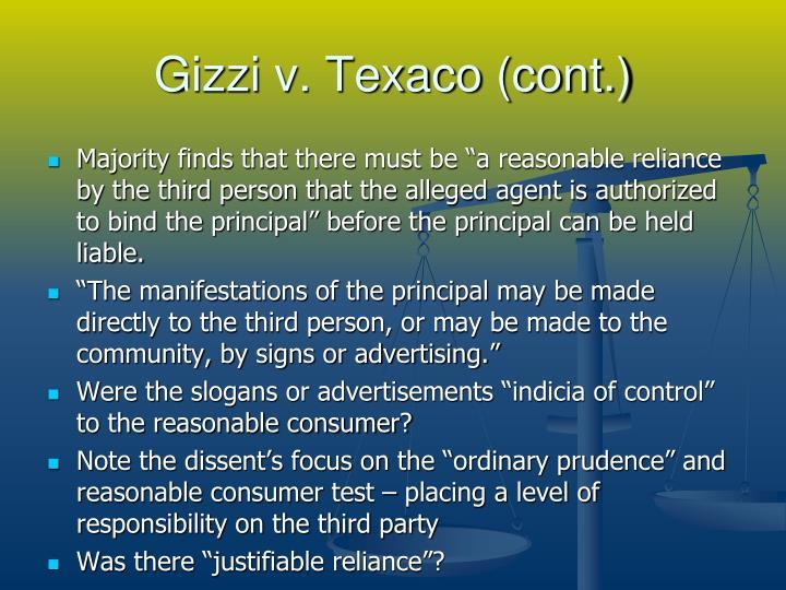 Gizzi v. Texaco (cont.)