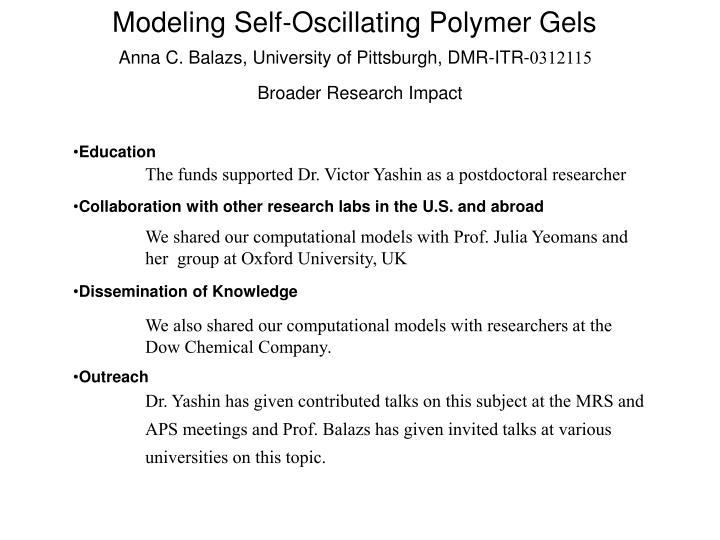 Modeling Self-Oscillating Polymer Gels