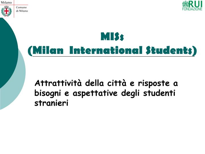 Miss milan international students