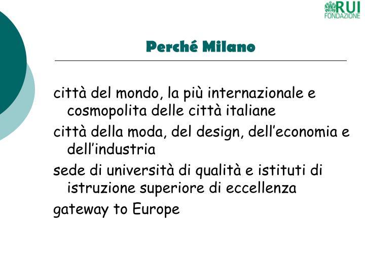 Perché Milano