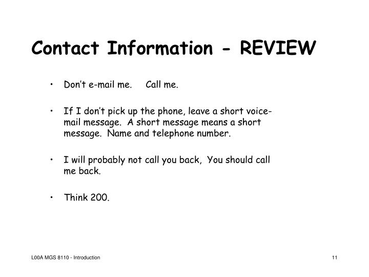 Contact Information - REVIEW