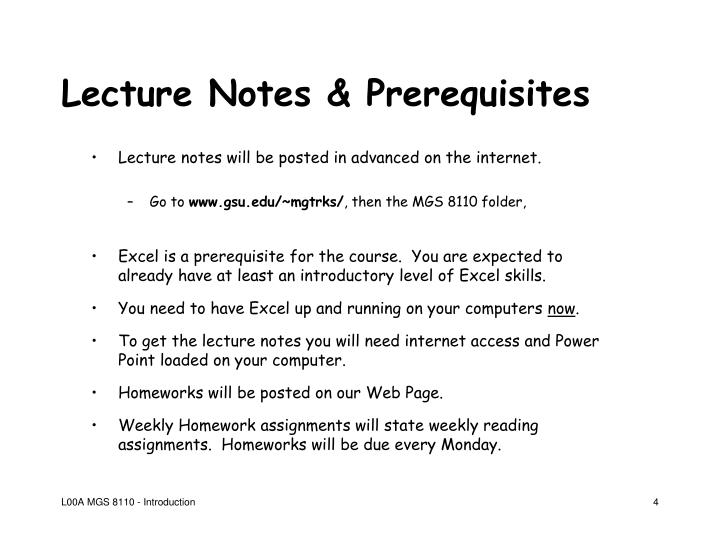 Lecture Notes & Prerequisites