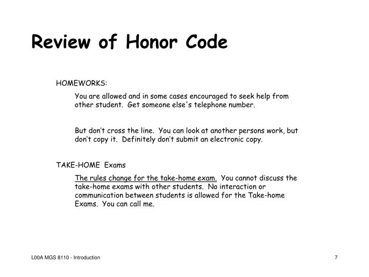 Review of Honor Code