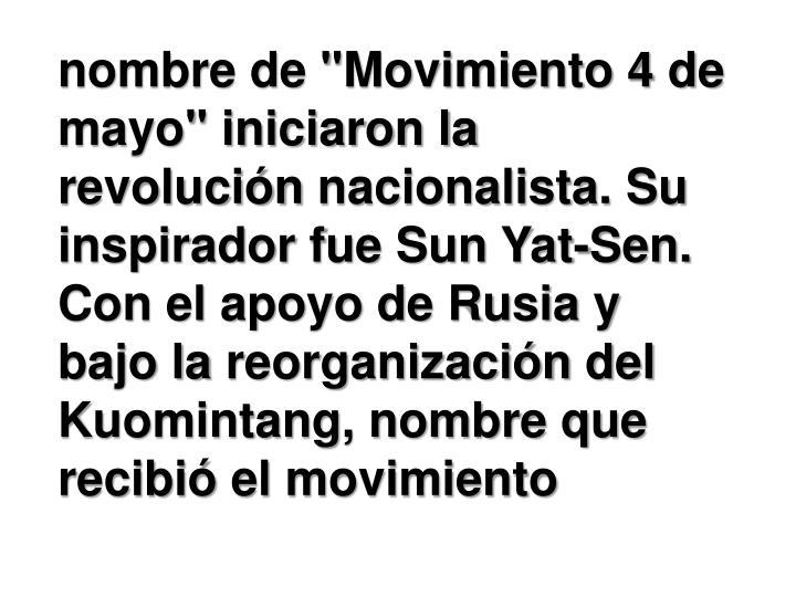 """nombre de """"Movimiento 4 de mayo"""" iniciaron la"""