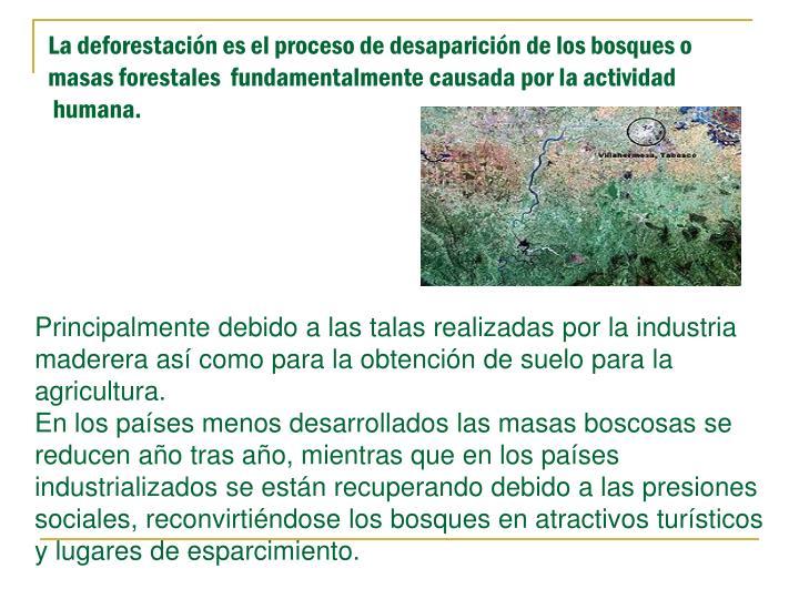 La deforestación es el proceso de desaparición de los bosques o masas forestales  fundamentalmente causada por la actividad