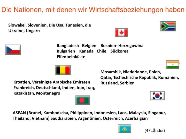 Die Nationen, mit denen wir Wirtschaftsbeziehungen haben