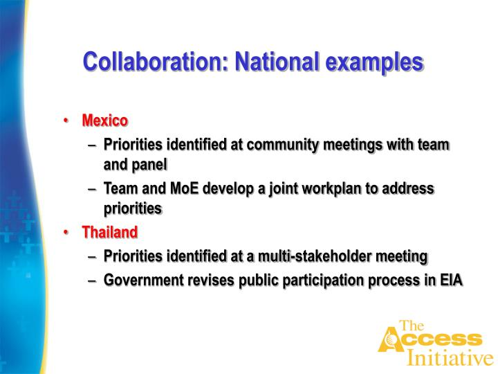 Collaboration: National examples