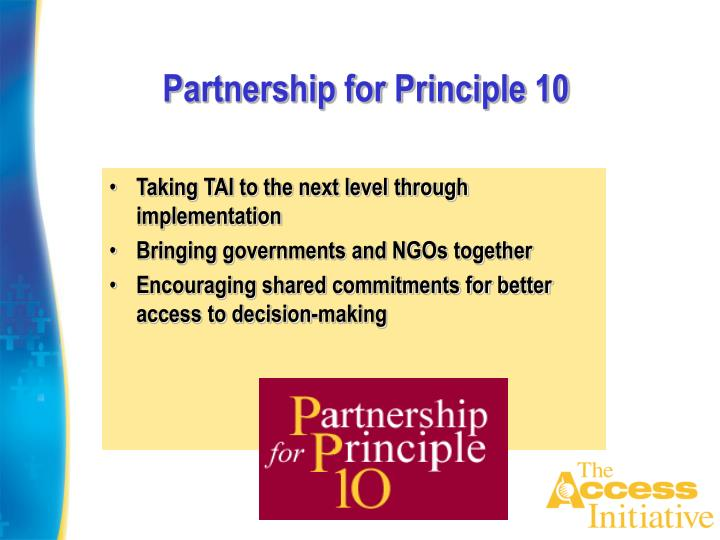Partnership for Principle 10