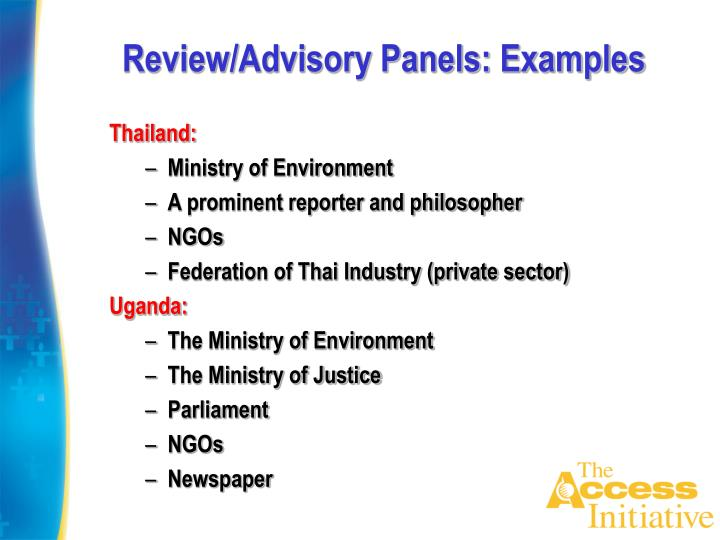 Review/Advisory Panels: Examples